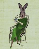 Lady Bella Rabbit Taking Tea Fine-Art Print