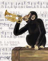 Monkey Playing Trumpet Fine-Art Print