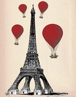 Eiffel Tower and Red Hot Air Balloons Fine-Art Print