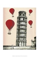 Tower of Pisa and Red Hot Air Balloons Framed Print