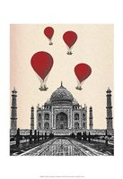 Taj Mahal and Red Hot Air Balloons Fine-Art Print