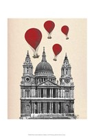 St Pauls Cathedral and Red Hot Air Balloons Fine-Art Print