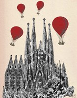 Sagrada Familia and Red Hot Air Balloons Fine-Art Print