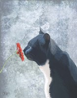 Black Cat Sniffing Flower Fine-Art Print