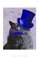 Grey Cat With Blue Top Hat and Moustache Fine-Art Print