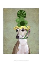 Greyhound in Green Knitted Hat Fine-Art Print