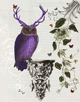 Purple Owl With Antlers Fine-Art Print