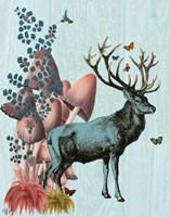 Turquoise Deer in Mushroom Forest Fine-Art Print