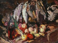 Still Life with Fish, Wine, and Fruit Fine-Art Print