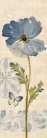 Watercolor Poppies Blue Panel II Fine-Art Print