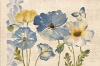 Watercolor Poppies Blue Landscape Fine-Art Print