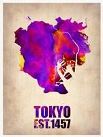 Tokyo Watercolor Map 2 Fine-Art Print