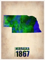 Nebraska Watercolor Map Fine-Art Print