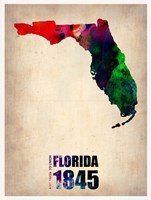 Florida Watercolor Map Fine-Art Print