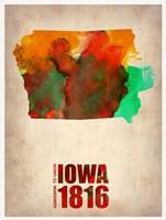 Iowa Watercolor Map Fine-Art Print