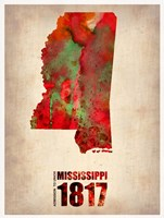 Mississippi Watercolor Map Fine-Art Print