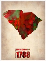 South Carolina Watercolor Map Fine-Art Print