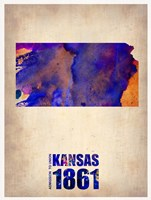 Kansas Watercolor Map Fine-Art Print
