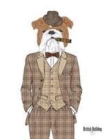 British Bulldog In Tweed Suit Fine-Art Print