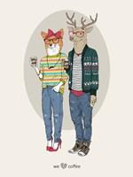 Fox Girl And Deer Boy Hipsters Fine-Art Print