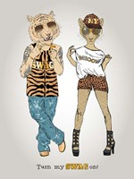 Tiger And Leopard In Swag Style Fine-Art Print