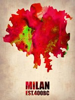 Milan Watercolor Map Fine-Art Print