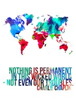 World Map Quote Charlie Chaplin Fine-Art Print