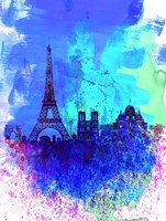 Paris Watercolor Skyline Fine-Art Print