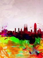 Barcelona Watercolor Skyline Fine-Art Print