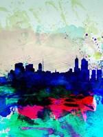 Melbourne Watercolor Skyline 2 Fine-Art Print