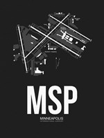 MSP Minneapolis Airport Black Fine-Art Print