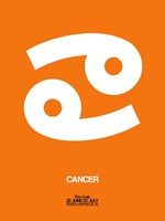Cancer Zodiac Sign White on Orange Fine-Art Print