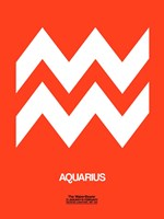 Aquarius Zodiac Sign White on Orange Fine-Art Print