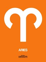 Aries Zodiac Sign White on Orange Fine-Art Print
