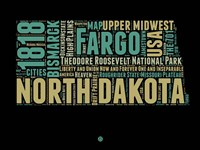 North Dakota Word Cloud 1 Fine-Art Print