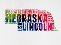 Nebraska Watercolor Word Cloud Fine-Art Print