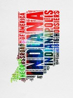 Indiana Watercolor Word Cloud Fine-Art Print