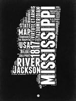 Mississippi Black and White Map Fine-Art Print
