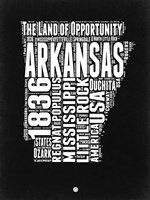 Arkansas Black and White Map Fine-Art Print