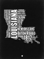 Louisiana Black and White Map Fine-Art Print