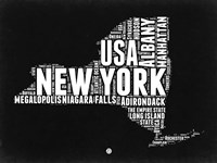 New York Black and White Map Fine-Art Print