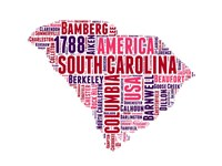 South Carolina Word Cloud Map Fine-Art Print