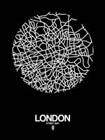 London Street Map Black Fine-Art Print