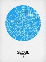 Seoul Street Map Blue Fine-Art Print