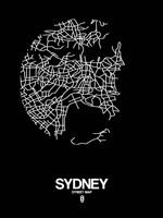 Sydney Street Map Black Fine-Art Print