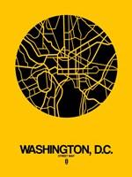 Washington DC  Street Map Yellow Fine-Art Print