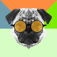 Party Pug in Yellow Glasses Fine-Art Print