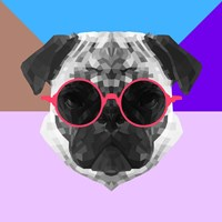 Party Pug in Pink Glasses Fine-Art Print