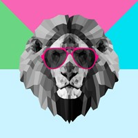 Party Lion in Red Glasses Fine-Art Print