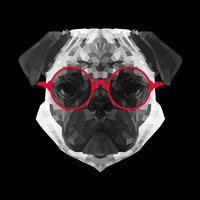 Pug in Red Glasses Fine-Art Print